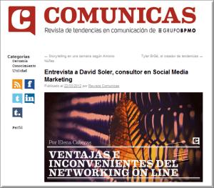 Página entrevista a David Soler en la revista Comunicas