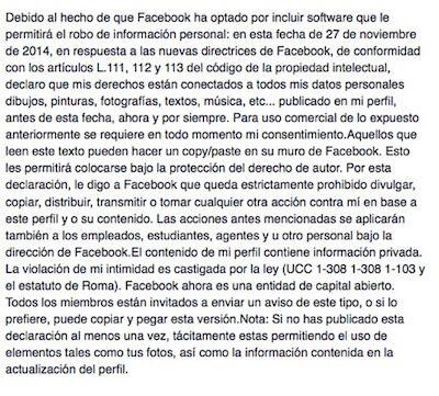 Disclaimer sobre propiedad intelectual y privacidad de los usuarios en Facebook