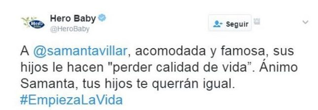 Hero Baby España lanza un tuit sin sentido contra Samanta Villar